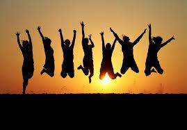 celebrating people sunset